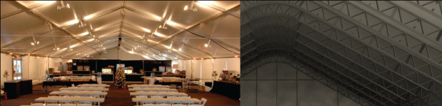 inside commercial tents