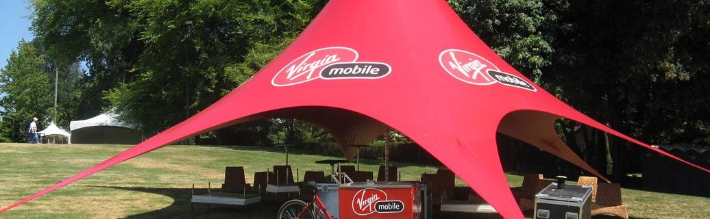 custom logo tent for Virgin Mobile