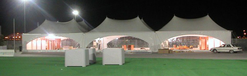 large canopy tents at night