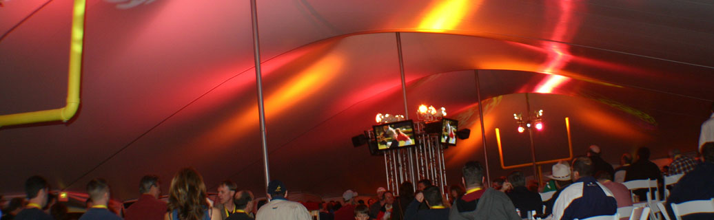 inside a high peak party tent