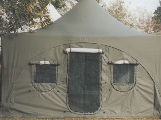 Emergency tent shelter with windows and door