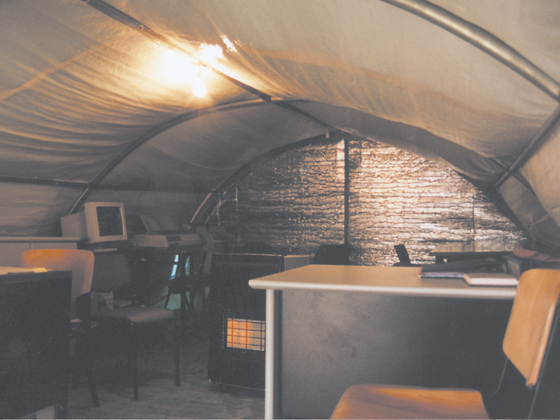 inside an emergency tent
