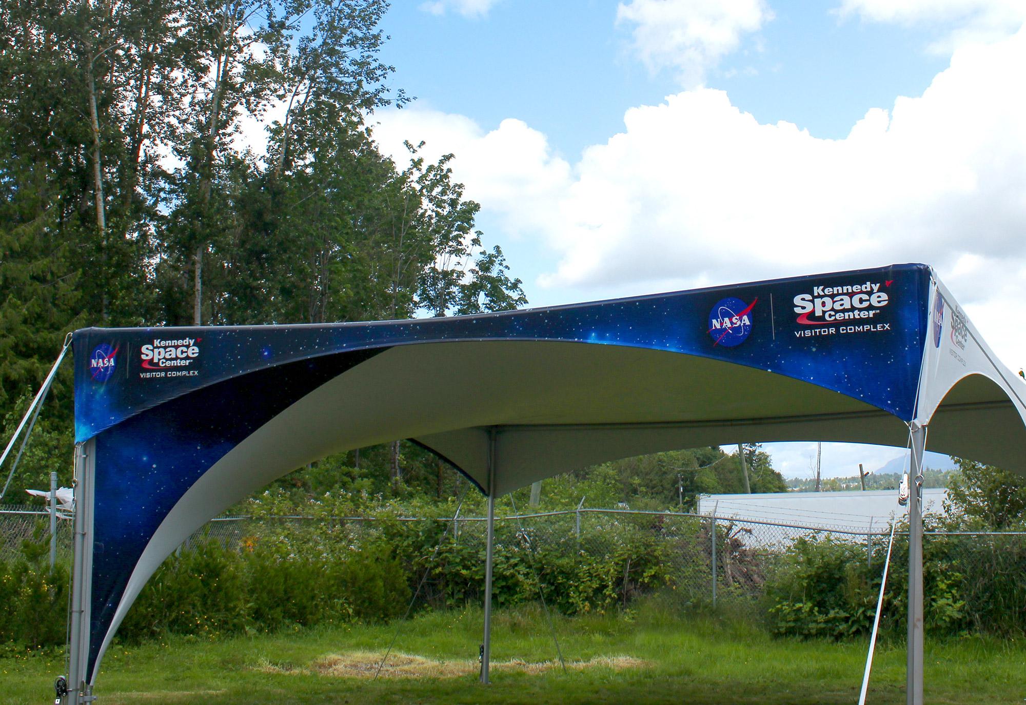 "Tentnology Vortex | Client:  <a href=""https://www.kennedyspacecenter.com/"" target=""_blank"">Kennedy Space Center</a>"